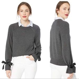 JCrew Tie bell-sleeve pullover sweater grey M